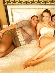 ass licking; brunette; chubby; lesbians; old and young; stockings; threesome;
