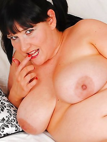 british women; brunette; busty; chubby; masturbation; shaved pussy; toys;