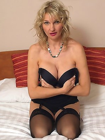 blonde women; housewives; lingerie; milf; solo; stockings;
