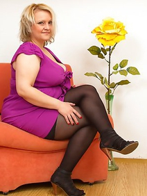 blonde women; busty; chubby; housewives; solo; stockings;