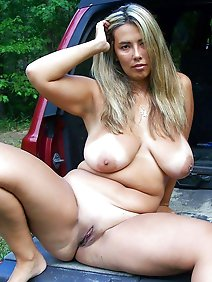 busty; chubby; outdoors; public; undressed;